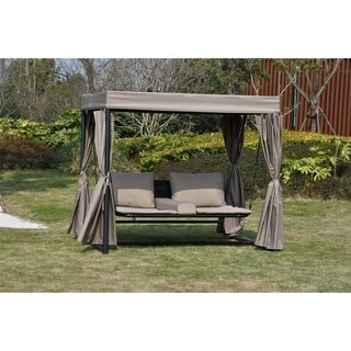 Heminger Outdoor Patio Taupe Double Chaise Lounge Swing Bed Sunbed with Canopy by Direct Wicker