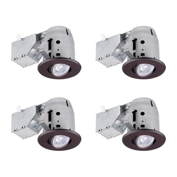 3 in. Oil Rubbed Bronze Swivel Recessed LED Kit (4-Pack), LED Bulbs Included. Opens flyout.