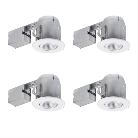 5 in. White Recessed Kit (4-Pack), LED Bulbs Included