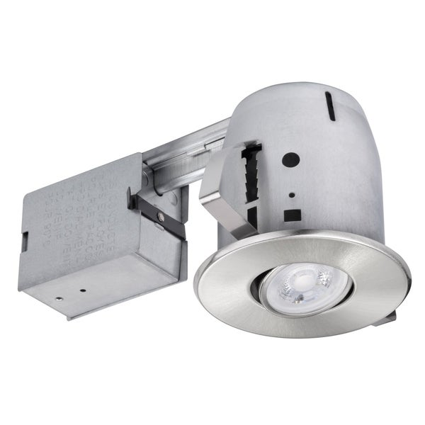 4 in. Brushed Nickel IC Rated Recessed Lighting Kit, LED Bulb Included. Opens flyout.