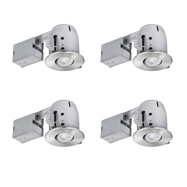 4 in. Brushed Nickel IC Rated Recessed Lighting Kit (4-Pack). Opens flyout.