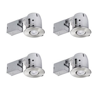 4 in. Brushed Nickel IC Rated Recessed Lighting Kit (4-Pack), LED Bulbs Included