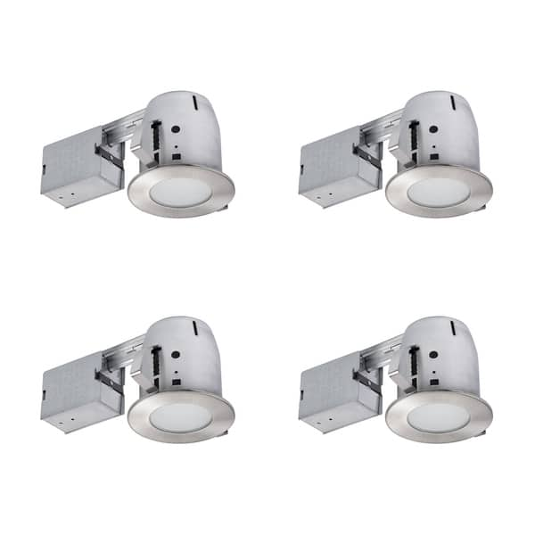 4 In Brushed Nickel Ic Rated Recessed Lighting Kit