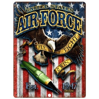 """Vintage United States Air Force Metal Sign 9"""" x 12"""""""