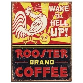 "Vintage Rooster Brand Coffee Metal Sign 9"" x 12"""