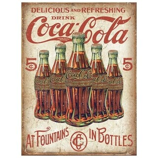 """Vintage Coca Cola Metal Sign 9"""" x 12"""""""