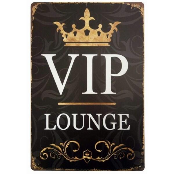 "Vintage VIP Lounge Metal Sign 8"" x 12"""