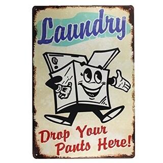 """Vintage Laundry Drop Pants Metal Sign 8"""" x 12"""""""