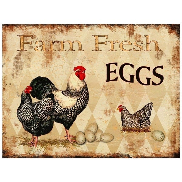 "Vintage Farm Fresh Eggs Brown Metal Sign 10"" x 13"""