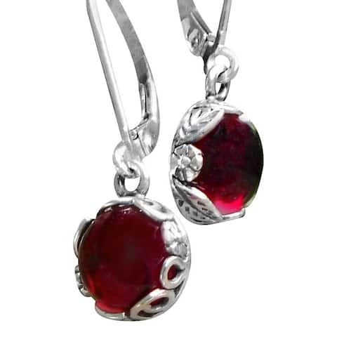 Handmade Recycled Vintage 1940's Ruby Beer Bottle Sterling Silver Botanical Lever back Earrings