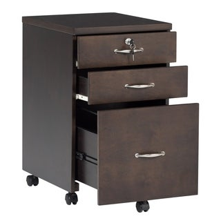 Offex Newel Mobile 3 Drawer Wood Filing Cabinet with Lock - Java