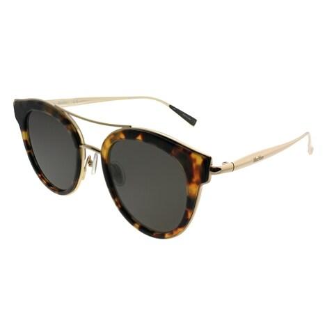 MaxMara Round MM Ilde IV/S 086 IR Women Dark Havana Frame Grey Lens Sunglasses