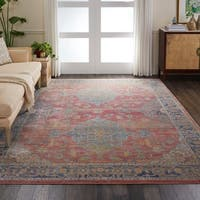 "Nourison Global Vintage Multicolor Traditional Area Rug - Red - 7'10"" x 9'10"""