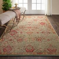 Nourison Somerset Light Green Vintage Traditional Area Rug - 5' x 8'