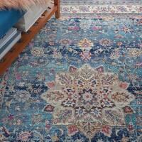 "Nourison Vintage Kashan Blue Bohemian Area Rug - 5'3"" x 7'10"""
