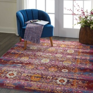 Nourison Vintage Kashan Red/Multicolor Abstract Area Rug - 5' x 8'