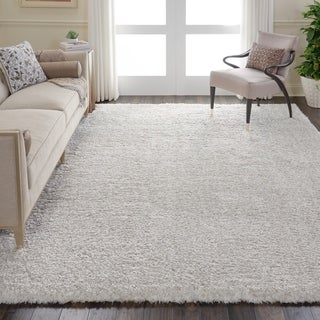 Nourison Ultra Plush Shag Light Grey Area Rug - 8'2 x 10'