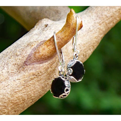 Handmade Recycled Antique Black Depression Glass Dishware Sterling Silver Botanical Lever back Earrings