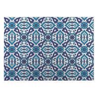 Kavka Designs Blue Kaleidoscope 2' x 3' Indoor/ Outdoor Floor Mat (As Is Item)