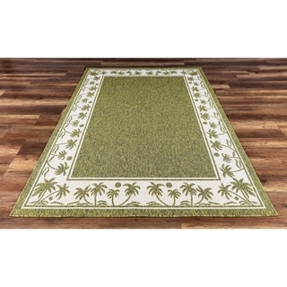 GAD Palms Beautiful Contemporary Indoor Outdoor Area Rug Tropical Palms