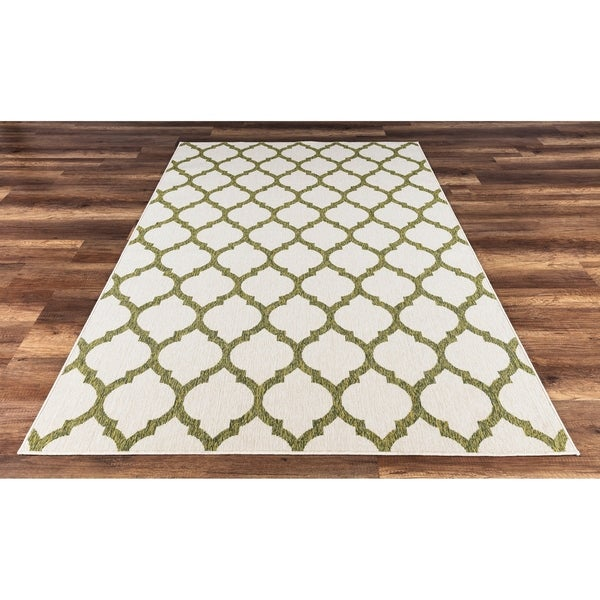 Gad Anne High Quality Indoor Outdoor Area Rug With Trellis Pattern Beige Green 7 10 X 2 On Free Shipping Today 22985812