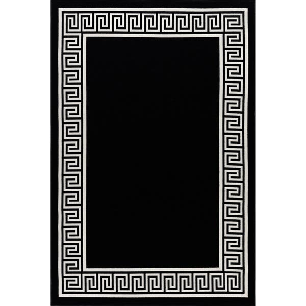 Gad Greek Key High Quality Indoor Outdoor Area Rug Black