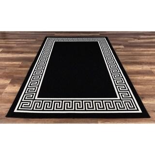 GAD Greek Key Black/White Indoor/Outdoor Border Area Rug - 7'10 x 10'2