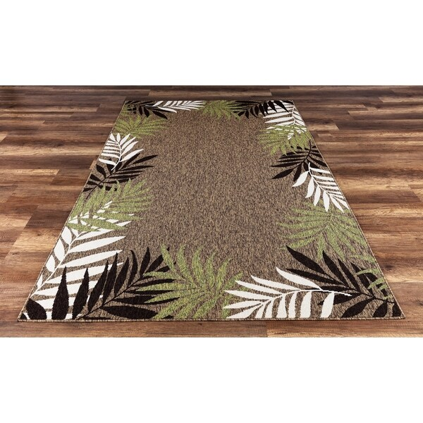shop gad foliar brown beautiful contemporary tropical palm leaves indoor outdoor area rug 5 39 3. Black Bedroom Furniture Sets. Home Design Ideas