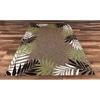 GAD Foliar Beautiful Contemporary Tropical Palm Leaves Indoor Outdoor Area Rug