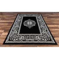 """GAD Rize Beautiful Contemporary  Indoor Outdoor Area Rug with Classic Medallion Black - 5'3"""" x 7'7"""""""