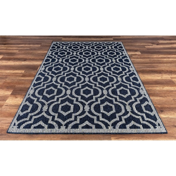 Gad Ayla High Quality Indoor Outdoor Area Rug With Geometric Pattern Navy Blue 5