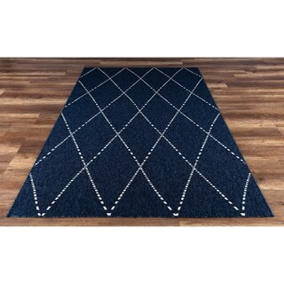 GAD Drew Navy Blue Geometric Indoor/Outdoor Area Rug - 7'10 x 10'2