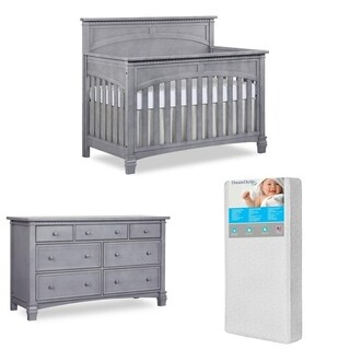 Evolur Santa Fe 5-in-1 Wood Convertible Crib and Double Dresser with 260-coil Crib and Toddler Mattress