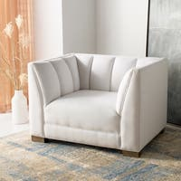 Safavieh Couture Beverly White Linen Blend Club Chair