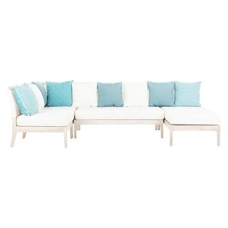 Safavieh Couture Outdoor Arcelis Teak Sectional - White Washed / Cream