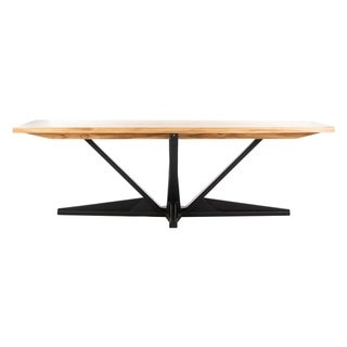 Safavieh Couture Zetta Brown/Black Teak/Stainless Steel Outdoor Dining Table