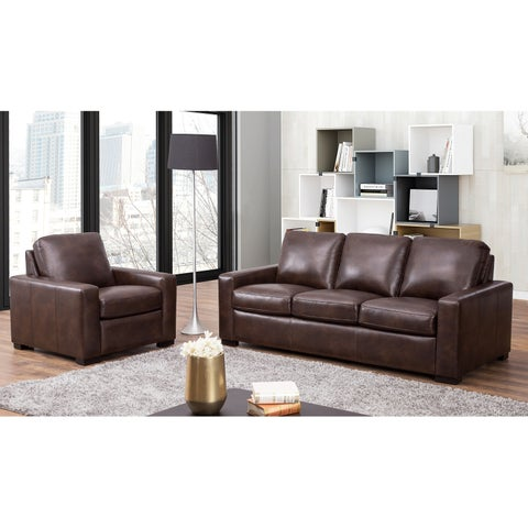 Abbyson Topang Brown 2 Piece Living Room Set
