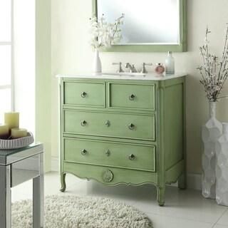 "34"" Benton Collection Vintage Green Daleville Bathroom Sink Vanity"