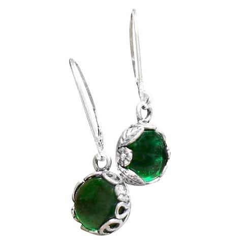 Handmade Recycled Vince 1960's Emerald Beer Bottle Sterling Silver Botanical Lever Back Earrings