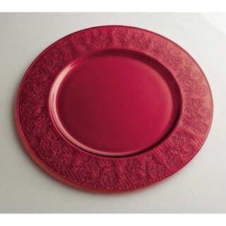"Majestic Gifts High Quality Glass Charger- Red- 12.6"" Diameter- Made in Europe"