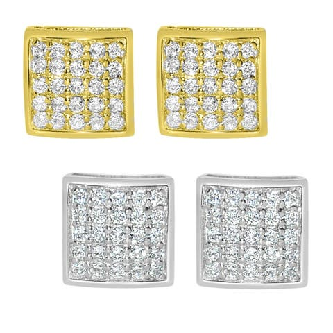 14k Gold Cubic Zirconia Composite Square Earring Studs