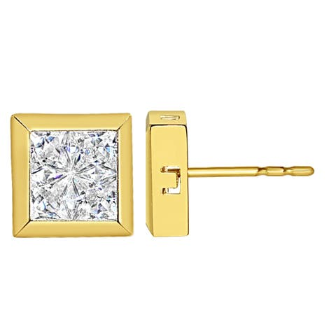 14k Yellow Gold Composite Cubic Zirconia Square Earring Studs