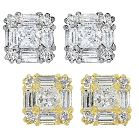 14k White Gold Square Cubic Zirconia Earring Studs