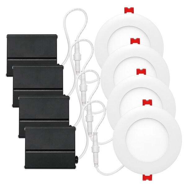 "4"" Brushed Nickel Ultra Slim Integrated LED Recessed Kit (4-Pack)"