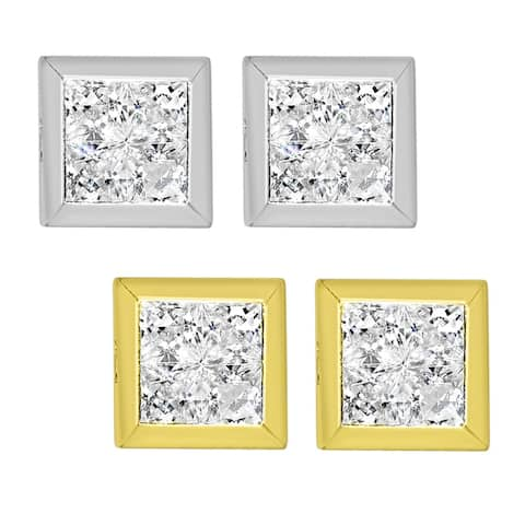 14k Yellow or White Gold Composite Cubic Zirconia Square Earring Studs