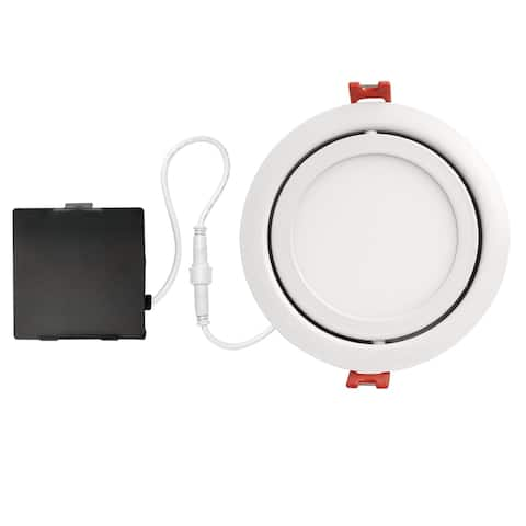 4 in. White Ultra Slim Swivel Integrated LED Recessed Lighting Kit