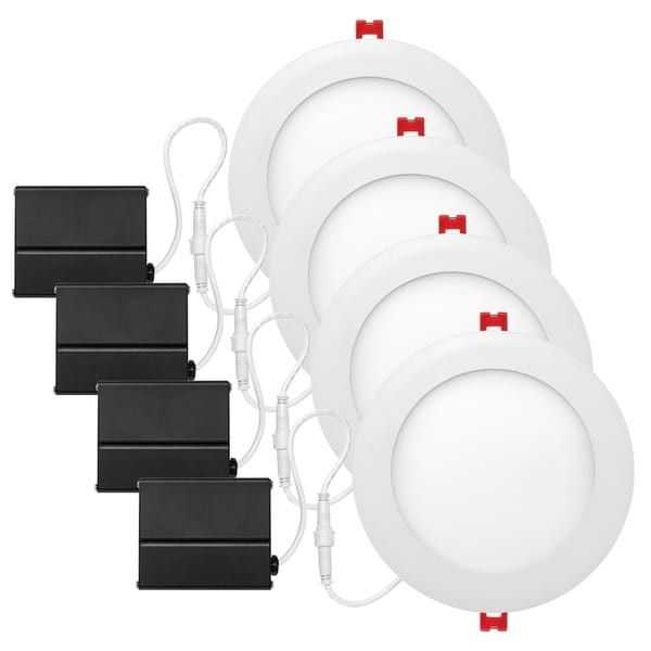 """4"""" White Ultra Slim Baffle Integrated LED Recessed Kit (4-Pack). Opens flyout."""
