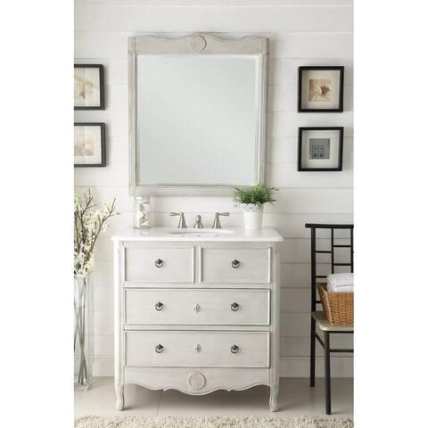 """34"""" Benton Collection Daleville Vintage Gray Bath Vanity & Mirror"""