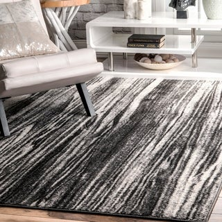 "nuLOOM Black & White Transitional Modern Artsy Dripping Rain Area Rug - 7' 6"" x 9' 6"""