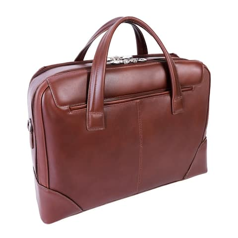 "McKleinUSA Harpswell 17"" Leather Dual Compartment Laptop Briefcase"